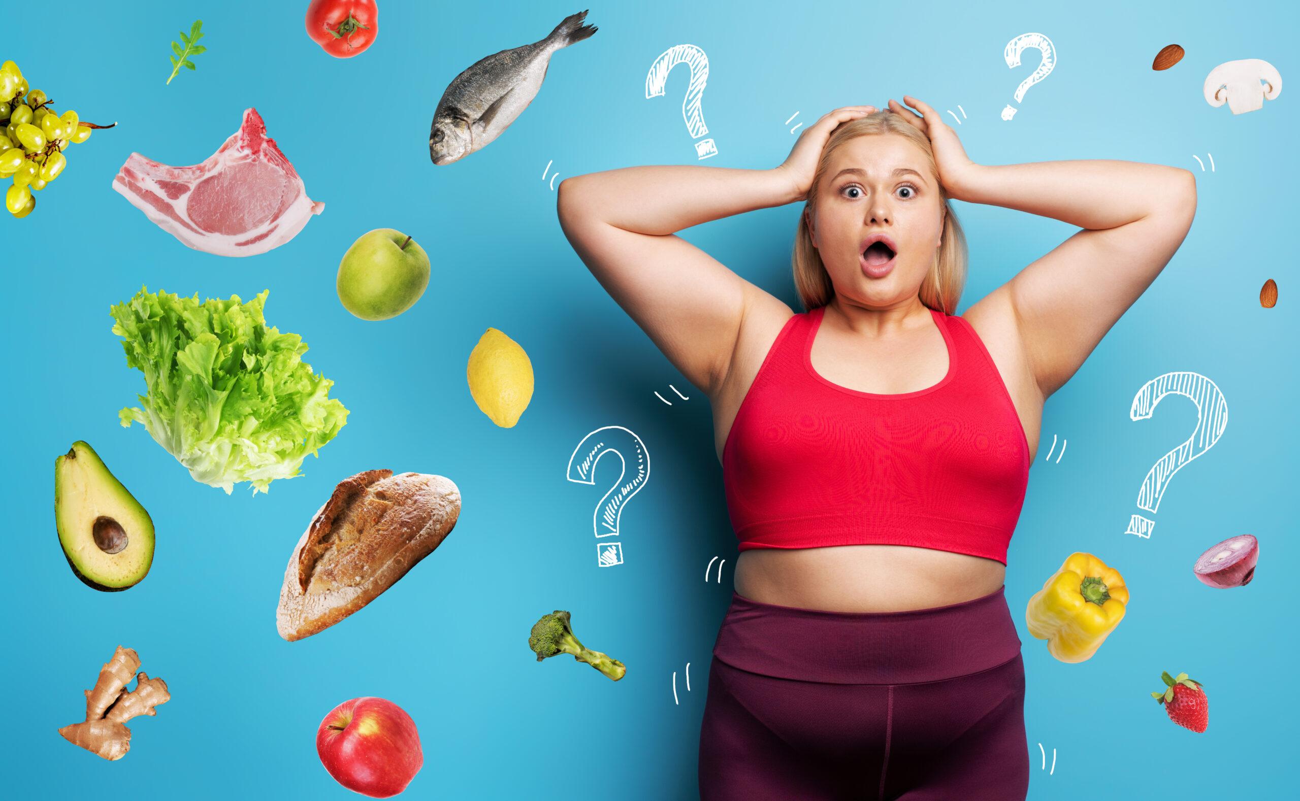太った女性が食べ物で混乱している画像です