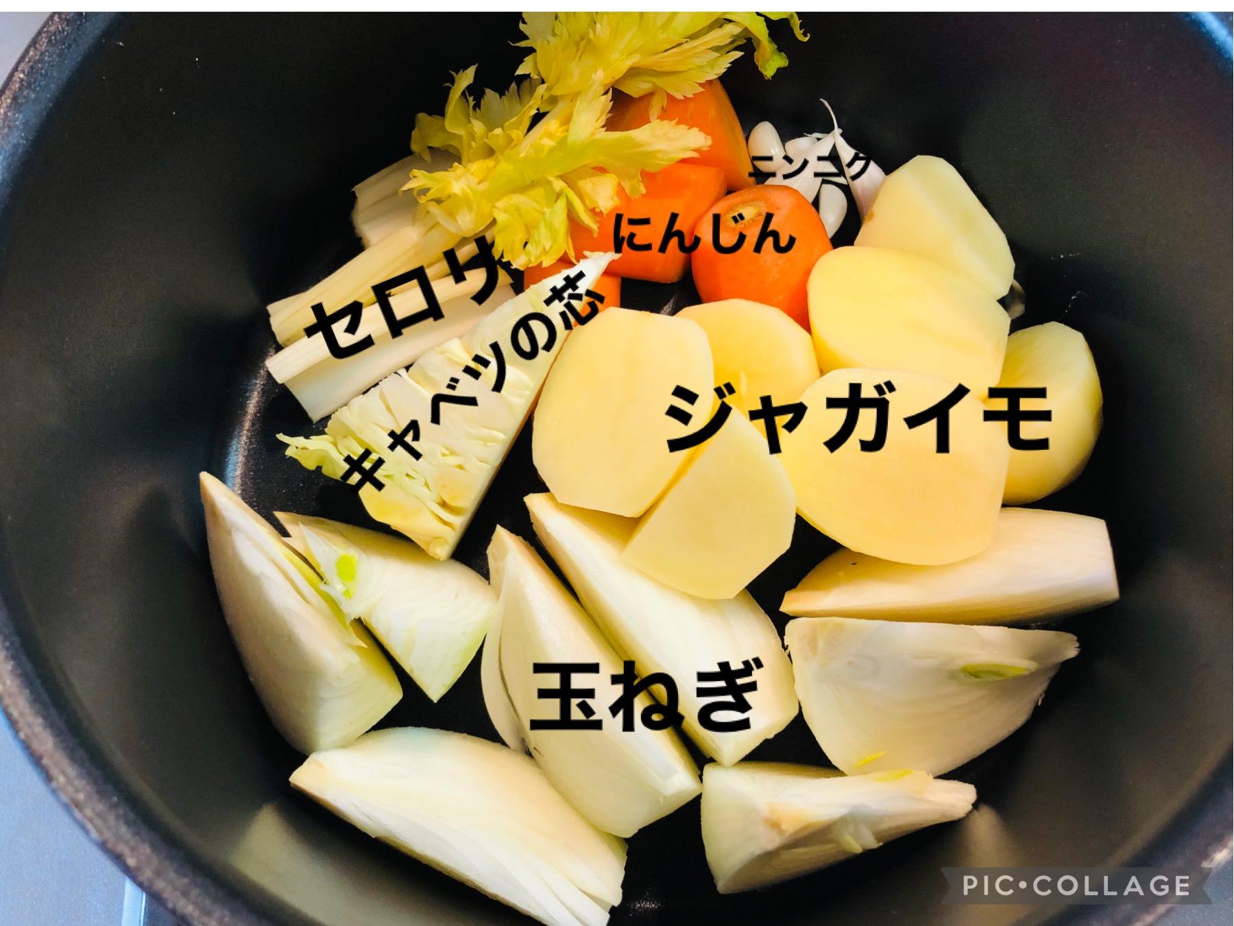 カットして鍋に入れた野菜の画像です