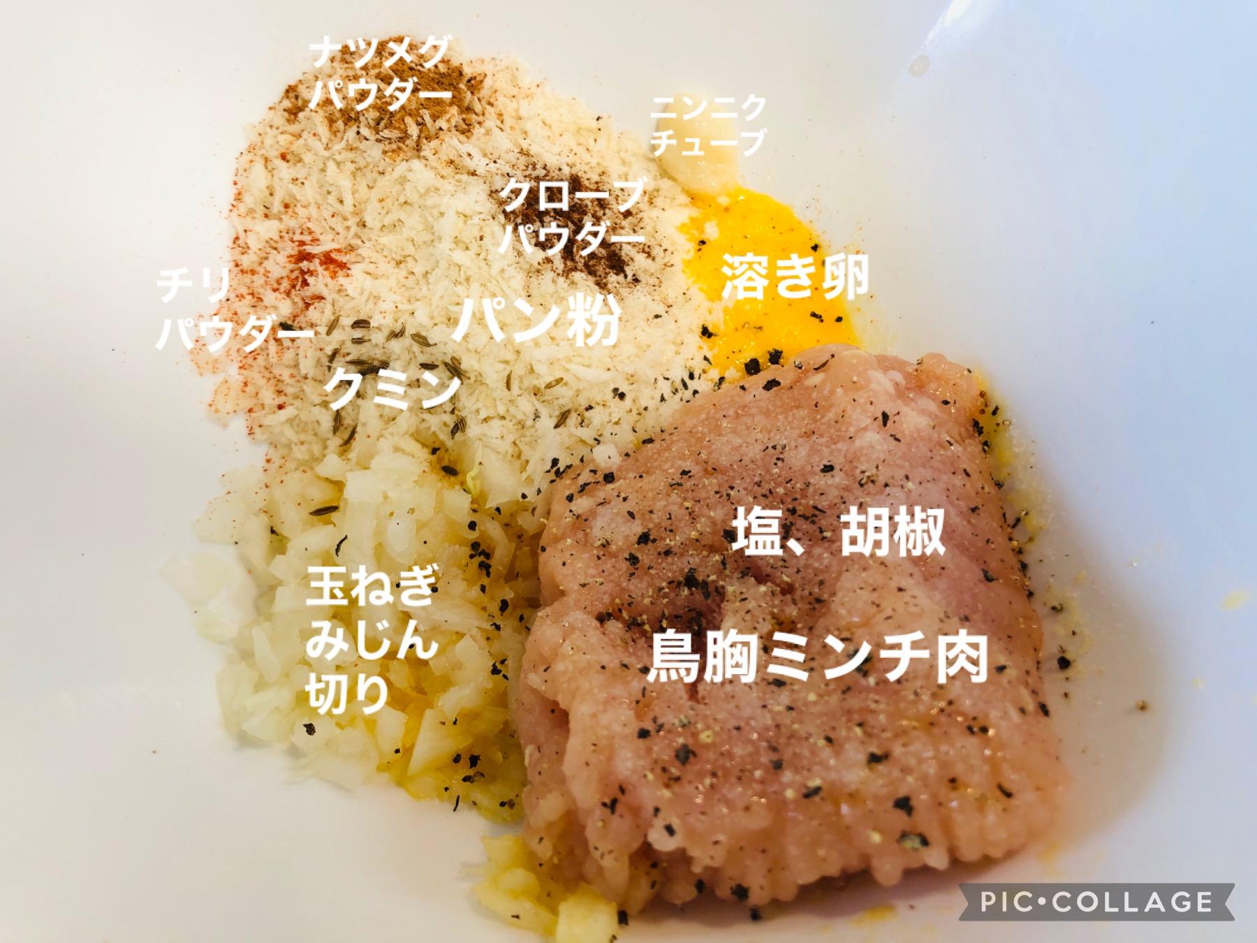 鶏むね肉団子の材料がボウルに入った画像です