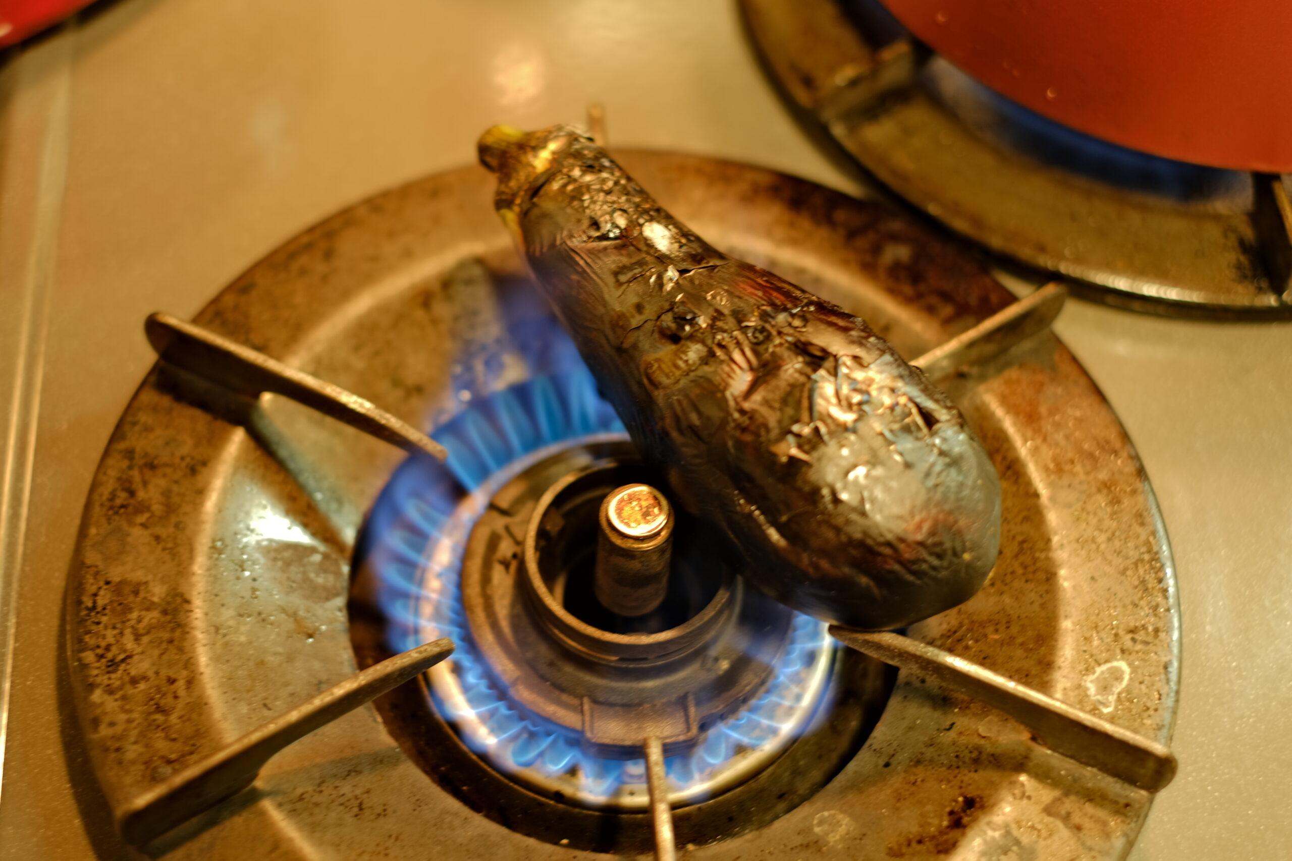焼き茄子が焼けた