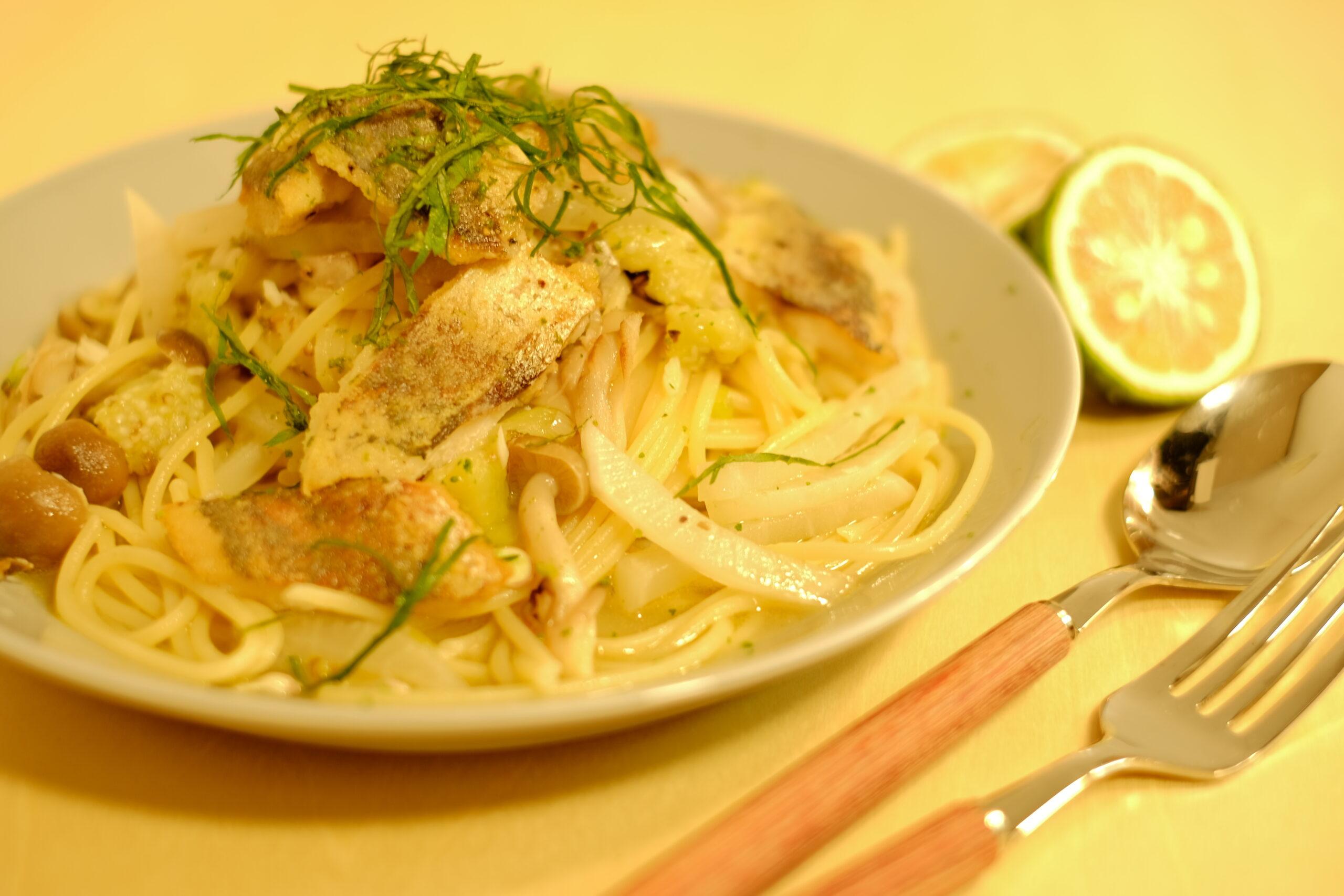 【秋香る】アジとキノコ焼き茄子のスパゲッティーニ青い酢みかん添えの完成画像1