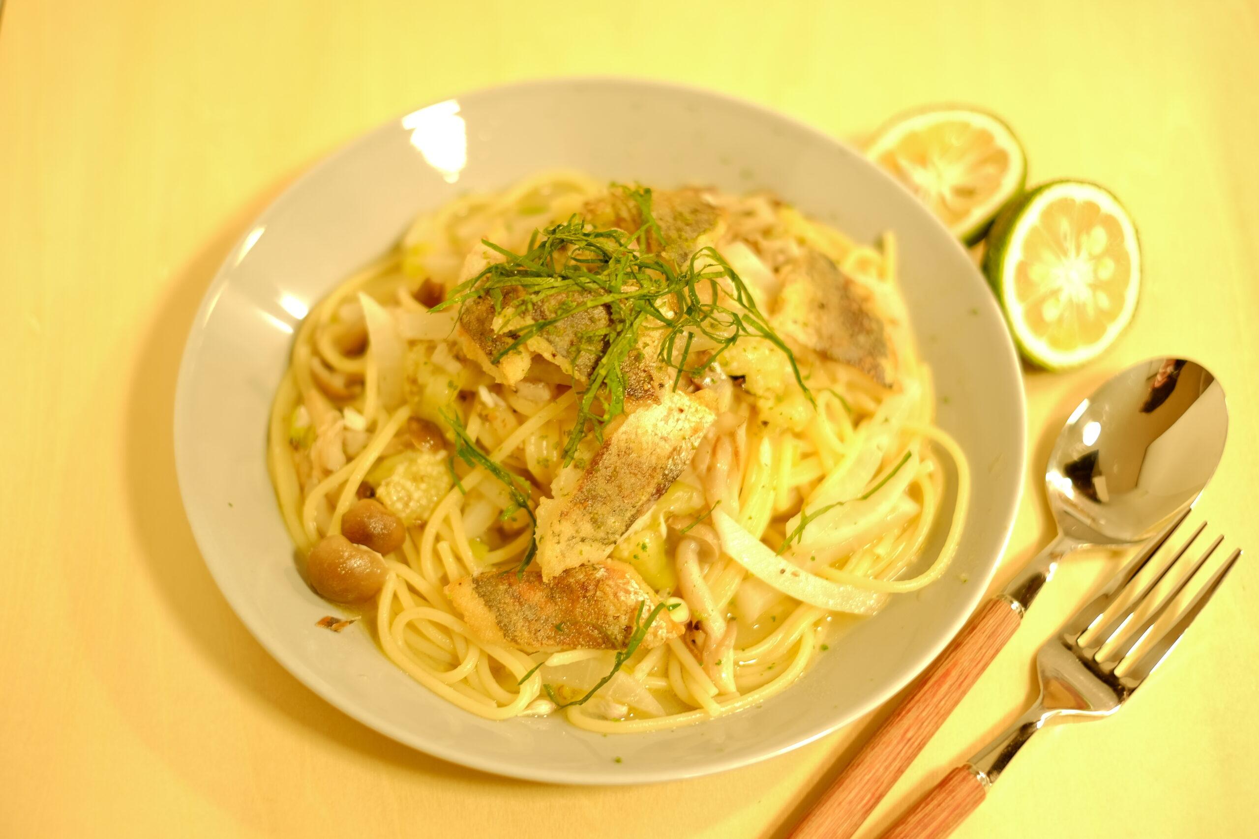 【秋香る】アジとキノコ焼き茄子のスパゲッティーニ青い酢みかん添えの完成画像2